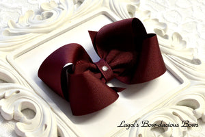 larg maroon boutique hair bow, cheer bow, school bows