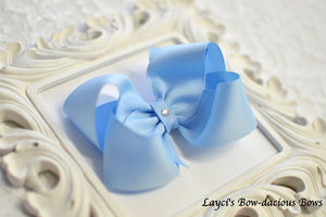 mullenium blue boutique hair bow