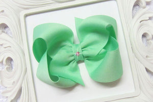 large mint boutique hair bow, mint baby bow, extra large mint bow