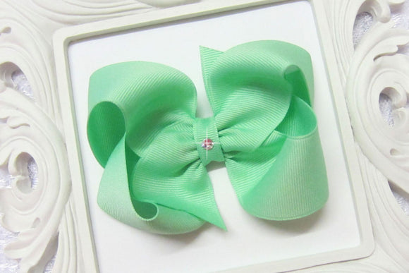 Extra Large Mint Boutique Hair Bow - Ready to Ship -B3