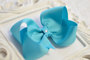 turquoise boutique hair bow, turquoise baby bow, large turquoise bow