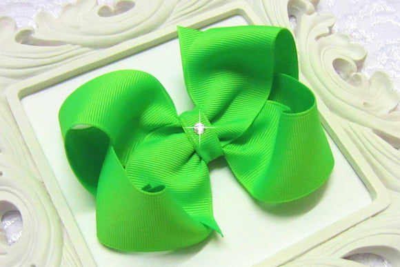 large neon green boutique hair bow, neon green baby bow
