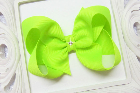 large neon lime boutique hair bow, neon baby bows, extra large neon bows