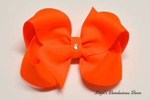 large neon orange boutique hair bow