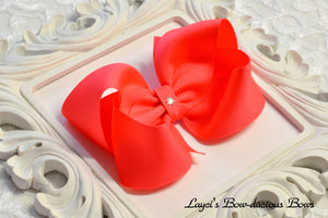 Neon Peach boutique hair bow, cheer bow, extra large