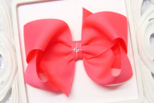large neon pink boutique hair bow, cheer bows