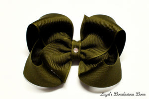 large olive green boutique hair bow