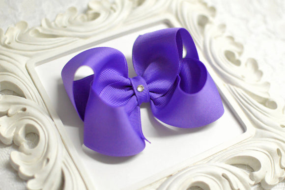 periwinkle blue boutique hair bow, blue baby bow, large blue bow