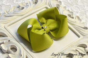 green boutique hair bow, green baby bow, extra large green bow