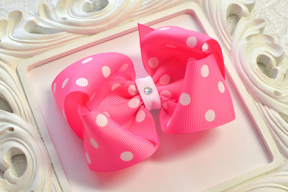 Large Pixie Pink Polka Dot Boutique Hair Bow - Ready to Ship - B3