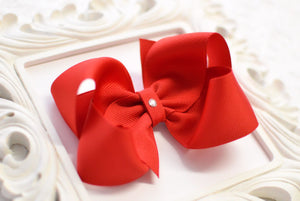 large red boutique hair bow, red baby hair bows