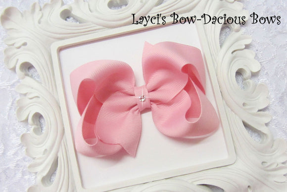 large rose pink boutique hair bow