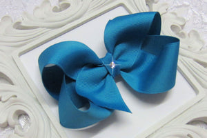 sapphire blue boutique hair bow, blue baby bow, large blue bow