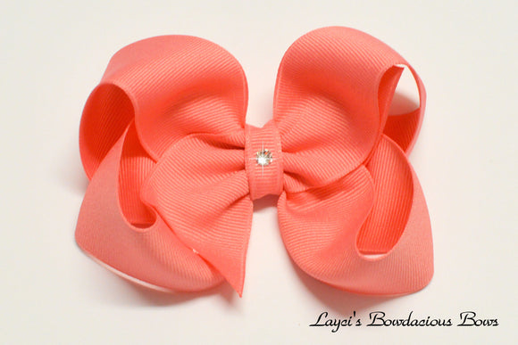 large shell pink boutique hair bow, extra large pink bow