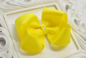 Extra Large Sunshine Yellow Boutique Hair Bow - Ready to Ship -B2