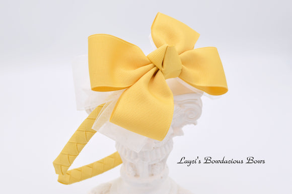 Lemonade Woven Headband with Bow - Custom color available