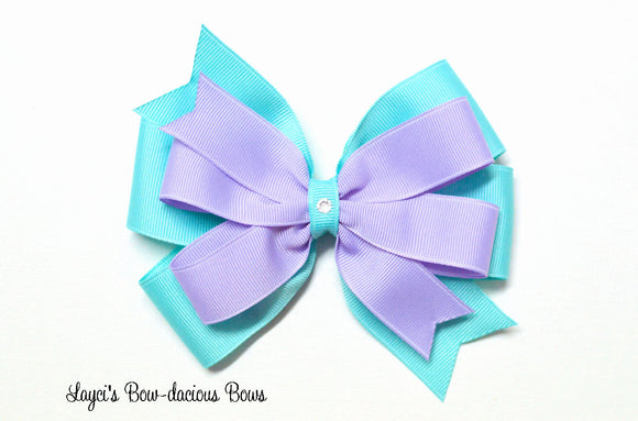 Mystic Blue and Lavender Layered Pinwheel Hair Bow