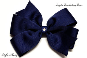 small light navy bow, medium navy bow, large navy blue bow, extra large navy blue bow, navy blue pinwheel hair bow