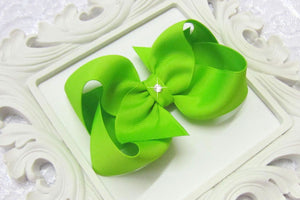 lypple green boutique hair bow, large green bow, bright green bow