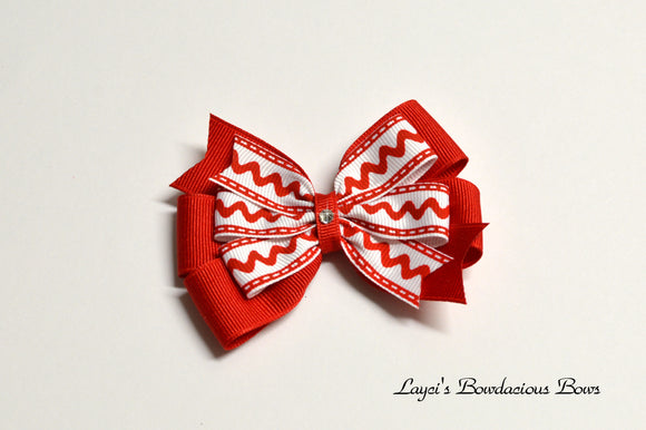 Medium Layered Red and White Christmas Hair Bow
