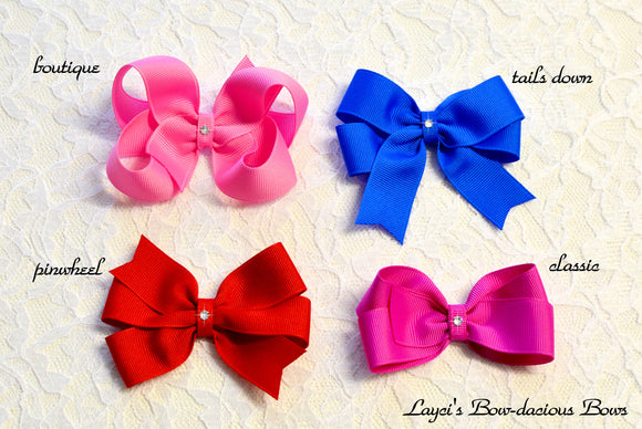 medium boutique, pinwheel, tails down, classic hair bows, toddler bows