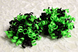 neon green and black korker hair bows