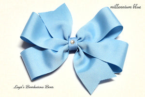 small millennium blue bow, medium blue bow, large blue bow, extra large blue bow, blue pinwheel hair bow