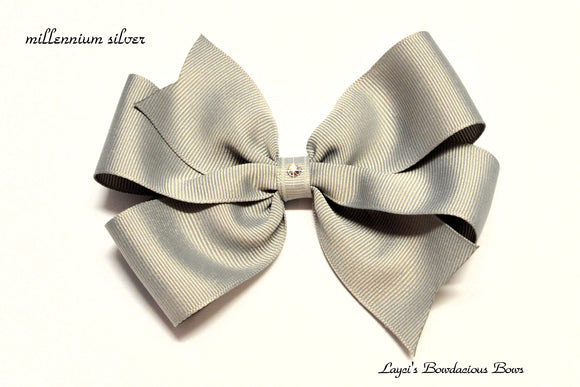 small millennium silver bow, medium grey bow, large blue bow, extra large silver bow, gray pinwheel hair bow