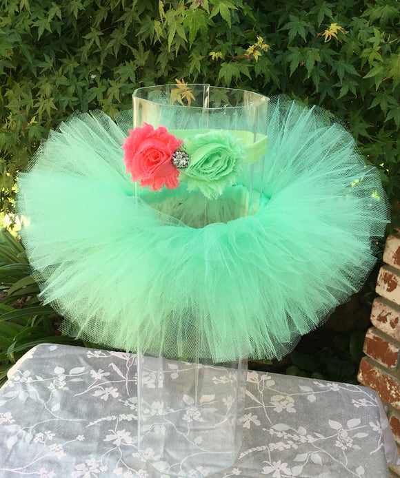 Mint Tutu with Coral Flower Headband