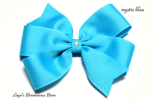 small mystic blue bow, medium blue bow, large blue bow, extra large blue bow, blue pinwheel hair bow