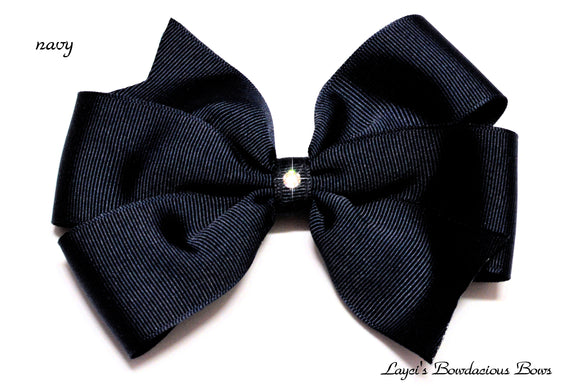 small navy blue bow, medium navy blue bow, large blue bow, extra large blue bow, blue pinwheel hair bow