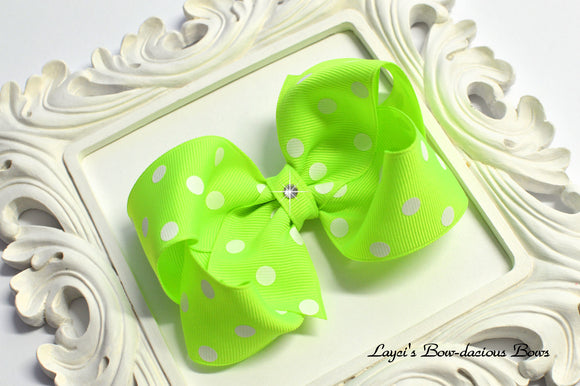 neon lime green polka dot bow