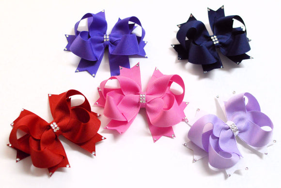 swarovski crystal hair bows, rhinestone bows, crystal bows, party bows