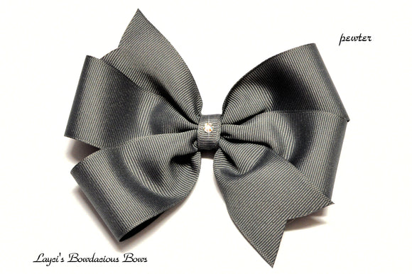small pewter grey bow, medium grey bow, large gray bow, extra large gray bow, grey pinwheel hair bow