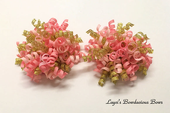 pink and gold korker hair bows