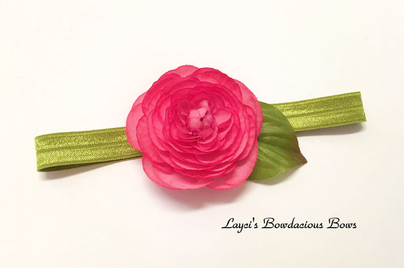 Coral/Pink flower on Olive Headband