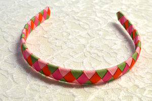 Pink, Green, Orange Woven Big Girl Headband - Ready to Ship - B1
