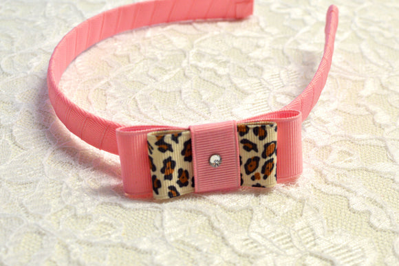 Pink Leopard Big Girl Headband - Ready to Ship - Rts1