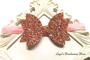Pretty Princess Pink and Gold Glitter Headband