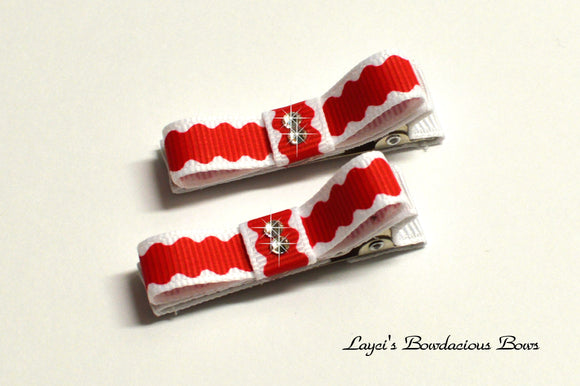 red and white hair clips, christmas baby bows