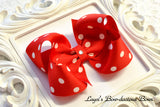 red polka dot hair bow, minnie mouse bow