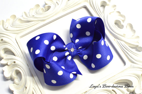 royal blue polka dot bow