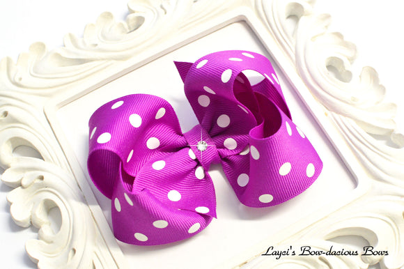 Royal Orchid polka dot bow