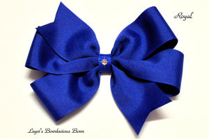 small royal bow, medium royal bow, large royal blue bow, extra large royal blue bow, royal blue pinwheel hair bow