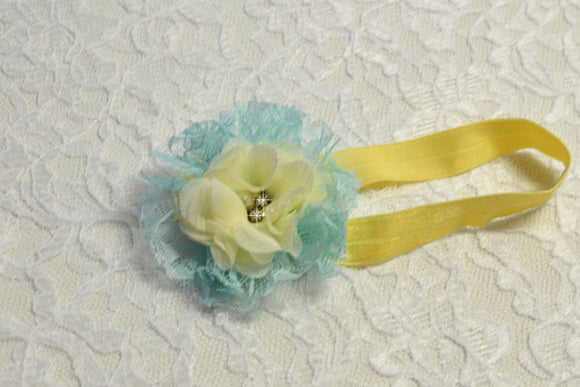 Newborn Yellow and Blue Flower Headband - Ready to Ship - Rts1