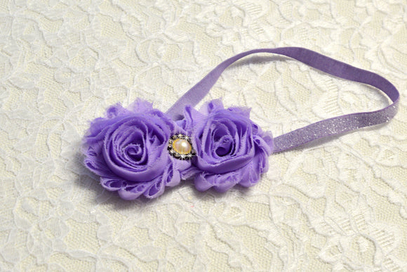 Double Lavender Flower Headband - Ready to Ship - Rts1