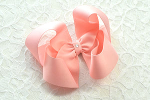 Extra Large Light Pink Boutique Hair Bow - Ready to Ship -B2
