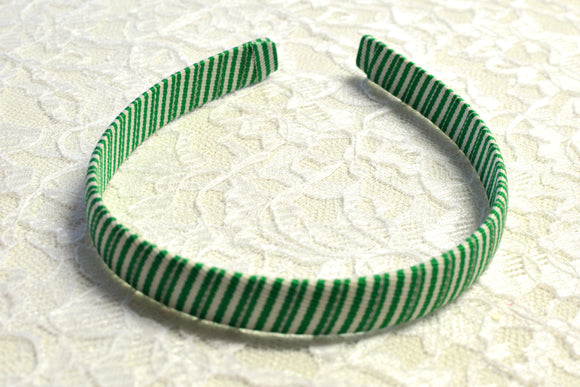 Green and White Striped Wrapped Big Girl Headband - Ready to Ship - B1