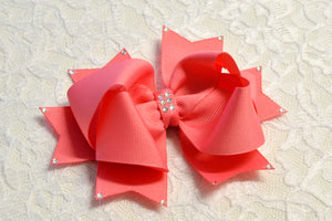Large Coral Rose Party Hair Bow - Ready to Ship -B1