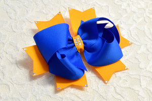 Large Electric Blue  and Yellow Gold Party Hair Bow - Ready to Ship -B1
